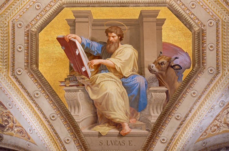 ROME, ITALY: Fresco of St. Luke the Evangelist in church Chiesa di Santa Maria in Aquiro by in neo-mannerist style. ROME, ITALY - MARCH 9, 2016: The fresco of royalty free stock photos