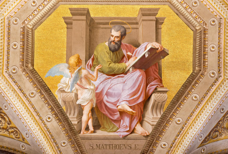 ROME, ITALY: Fresco of St. Matthew the Evangelist in church Chiesa di Santa Maria in Aquiro by Cesare Mariani. ROME, ITALY - MARCH 9, 2016: The fresco of St royalty free stock photo