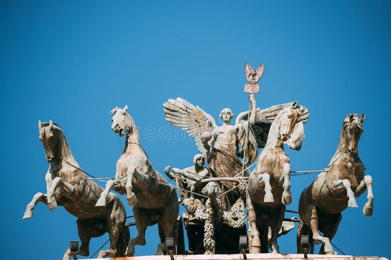 Rome, Italy. Great Bronze Quadriga On Summit Of Palace Of Justice royalty free stock images