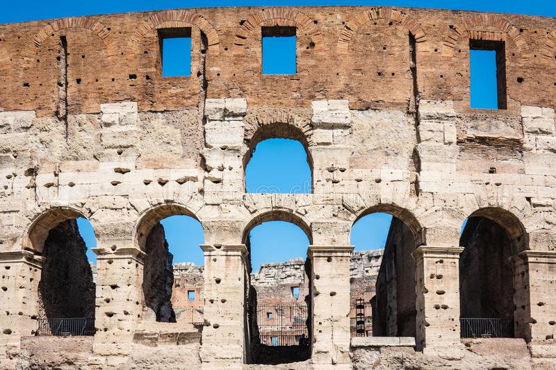 ROME, Italy: Great Roman Colosseum Coliseum, Colosseo also known as the Flavian Amphitheatre. Famous world landmark. Detail of t stock photo