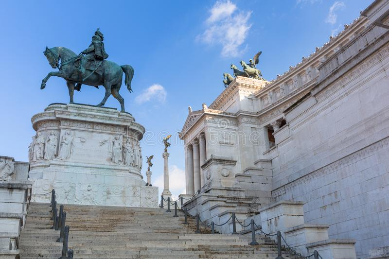 Rome, Italy - January 9, 2019: Architecture of the National Monument in Rome at sunny day, Italy. Vittorio, emanuele, nazionale, victor, white, vittoriano stock photo