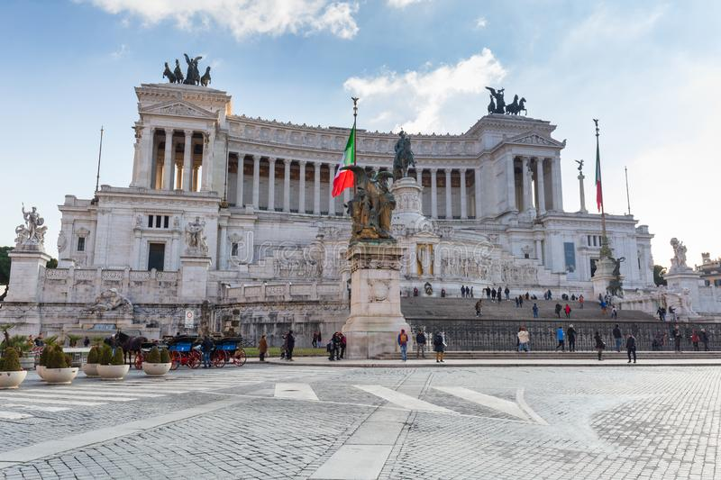 Rome, Italy - January 9, 2019: Architecture of the National Monument in Rome at sunny day, Italy. Vittorio, emanuele, nazionale, victor, white, vittoriano royalty free stock photos