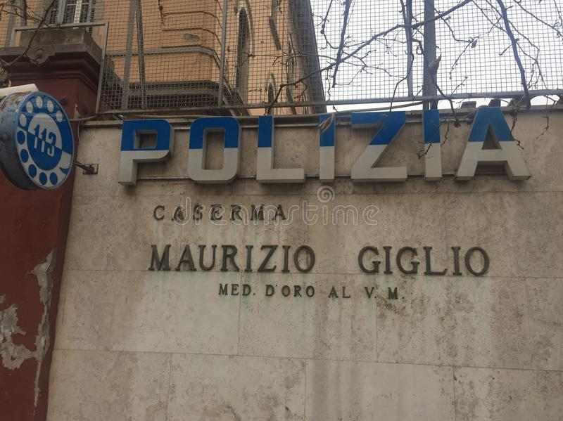 Sign of Italian police station Maurizio Giglio, Rome royalty free stock photo
