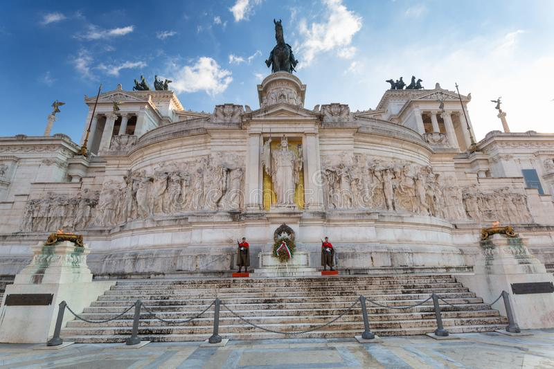 Rome, Italy - January 9, 2019: Soldiers at the National Monument in Rome at sunny day, Italy. Vittorio, emanuele, nazionale, victor, white, vittoriano, italian royalty free stock images