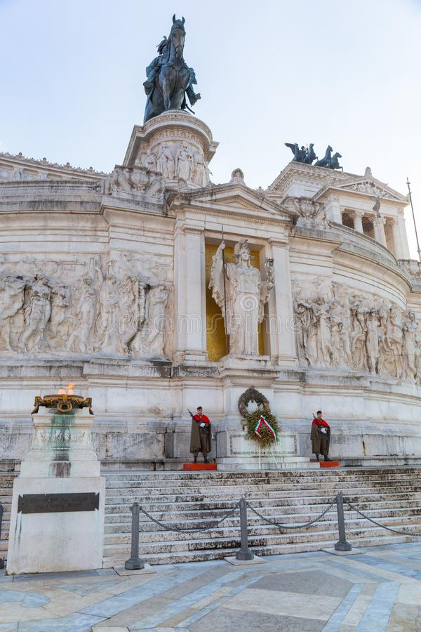 Rome, Italy - January 9, 2019: Soldiers at the National Monument in Rome at sunny day, Italy. Vittorio, emanuele, nazionale, victor, white, vittoriano, italian stock photo