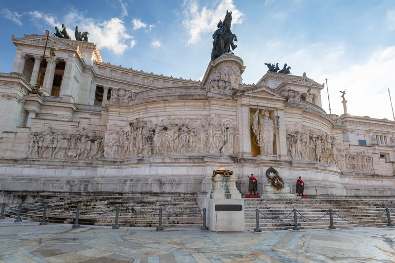 Rome, Italy - January 9, 2019: Soldiers at the National Monument in Rome at sunny day, Italy. Vittorio, emanuele, nazionale, victor, white, vittoriano, italian stock images