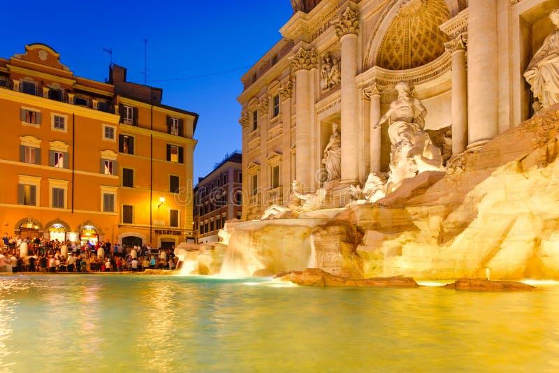 The Fontana di Trevi in Rome illuminated at night. ROME,ITALY - JULY 19,2017 : The Fontana di Trevi in Rome illuminated at night stock image