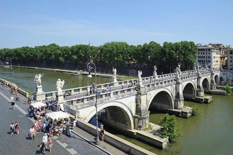 Ponte Sant Angelo also known as Bridge of Angels, Rome, Italy royalty free stock photo