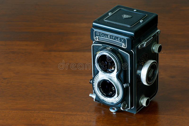 ROME, ITALY - JULY 21 2016. Vintage bioptical photo camera Rolleiflex royalty free stock image
