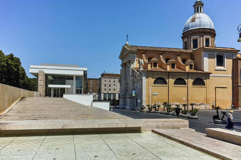 ROME, ITALY - JUNE 22, 2017: Amazing view of Chiesa di San Rocco all Augusteo in Rome royalty free stock photography