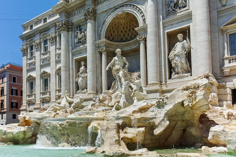 ROME, ITALY - JUNE 23, 2017: Amazing view of Trevi Fountain Fontana di Trevi in city of Rome. Italy royalty free stock photography