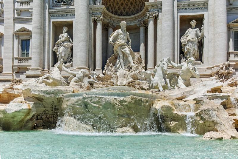 ROME, ITALY - JUNE 23, 2017: Amazing view of Trevi Fountain Fontana di Trevi in city of Rome. Italy stock photography