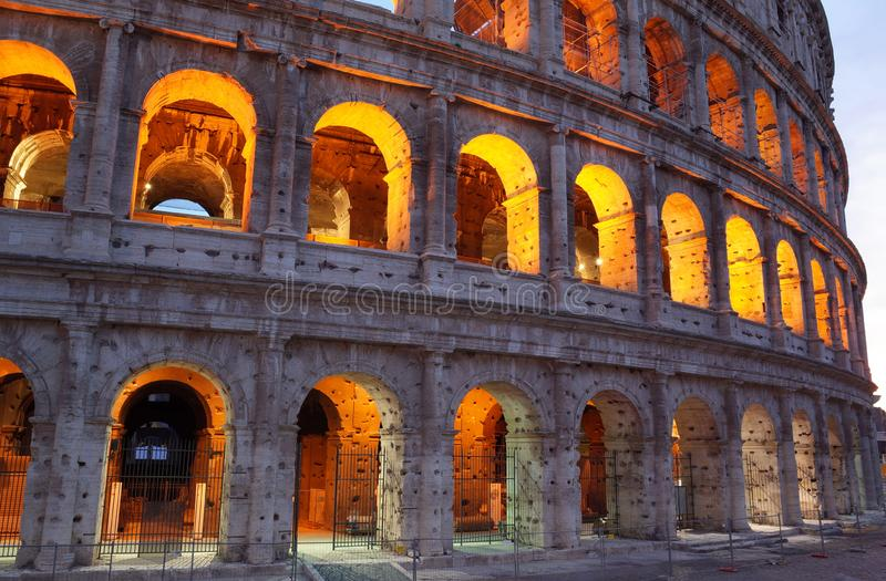 Close up view of the evening Rome Coliseum, the popular tourist place in Europe. Rome, Italy - June 22, 2019: Close up view of the evening Rome Coliseum, the stock photography