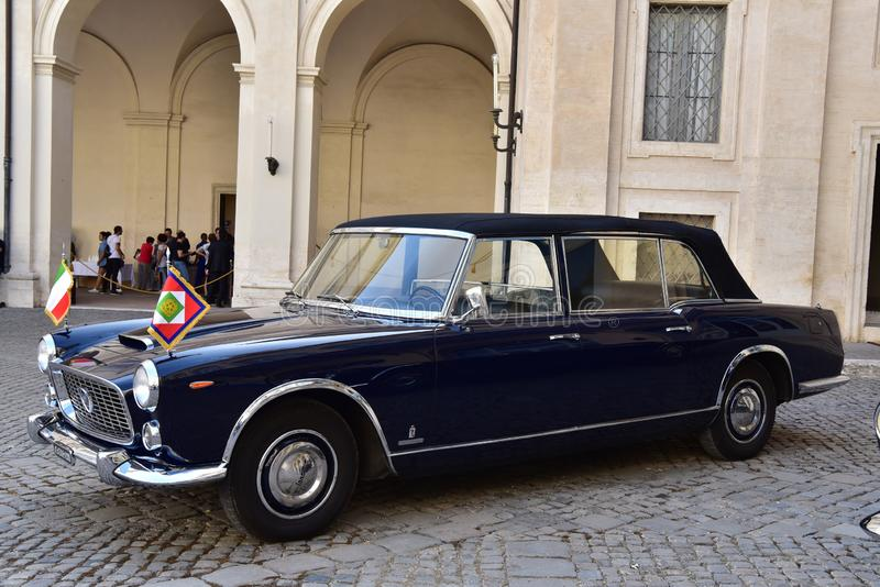 Rome - Italy - June 2, 2018 - Lancia Flaminia 335 president car. Rome - Italy - June 2, 2018 - Lancia Flaminia 335 vintage car in Quirinale courtyard stock image