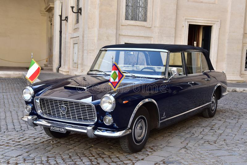 Rome - Italy - June 2, 2018 - Lancia Flaminia 335 president car. Rome - Italy - June 2, 2018 - Lancia Flaminia 335 vintage car in Quirinale courtyard used by royalty free stock images