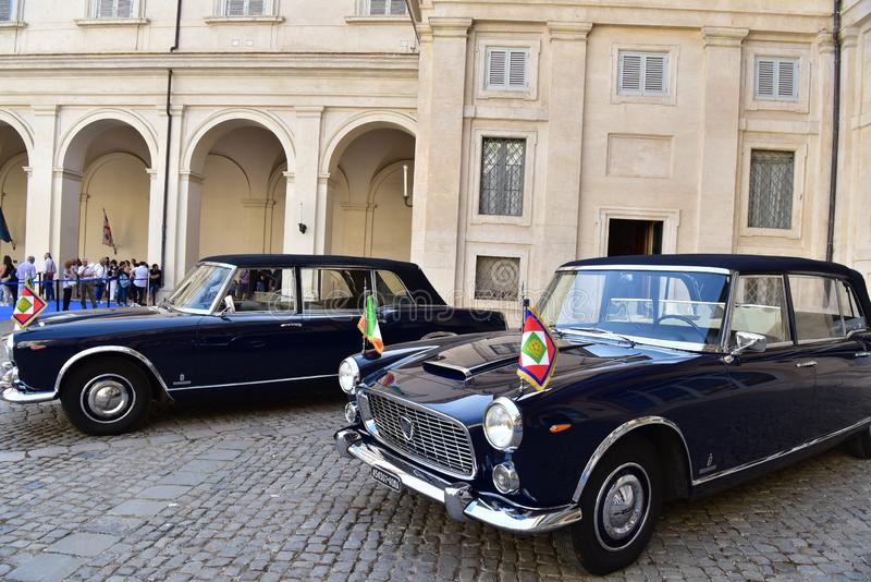 Rome - Italy - June 2, 2018 - Lancia Flaminia 335 president car. Rome - Italy - June 2, 2018 - Lancia Flaminia 335 vintage car in Quirinale courtyard royalty free stock image