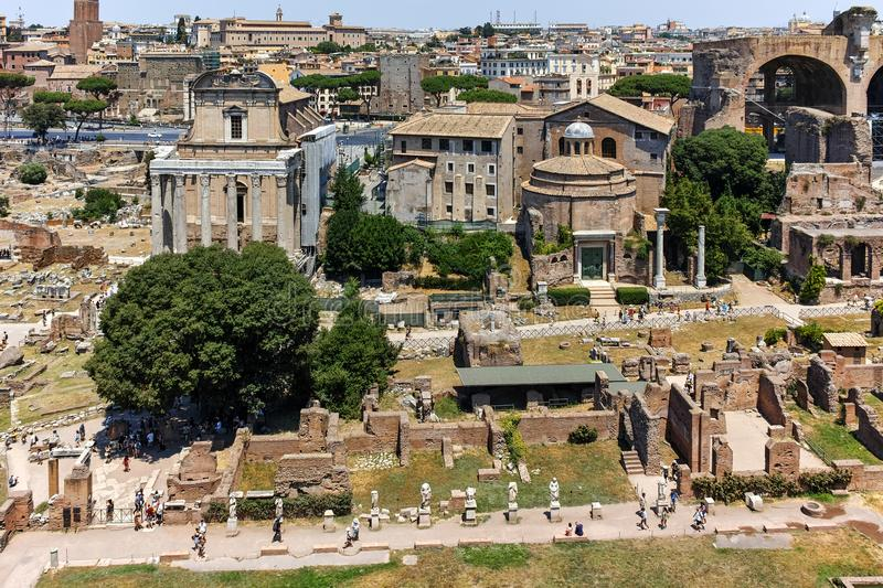 ROME, ITALY - JUNE 24, 2017: Panoramic view from Palatine Hill to ruins of Roman Forum in city of Rome. Italy royalty free stock photography