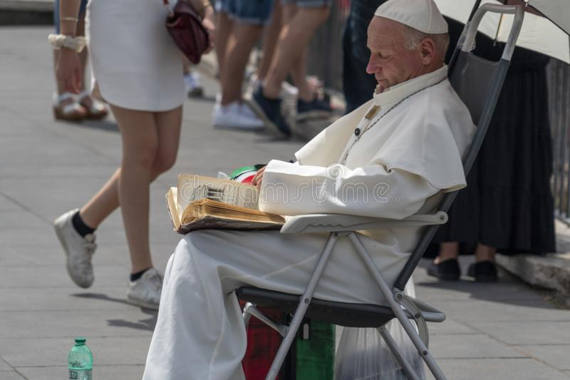 ROME, ITALY - JUNE 15 2019 - Pope John Paul II lookalike royalty free stock photos