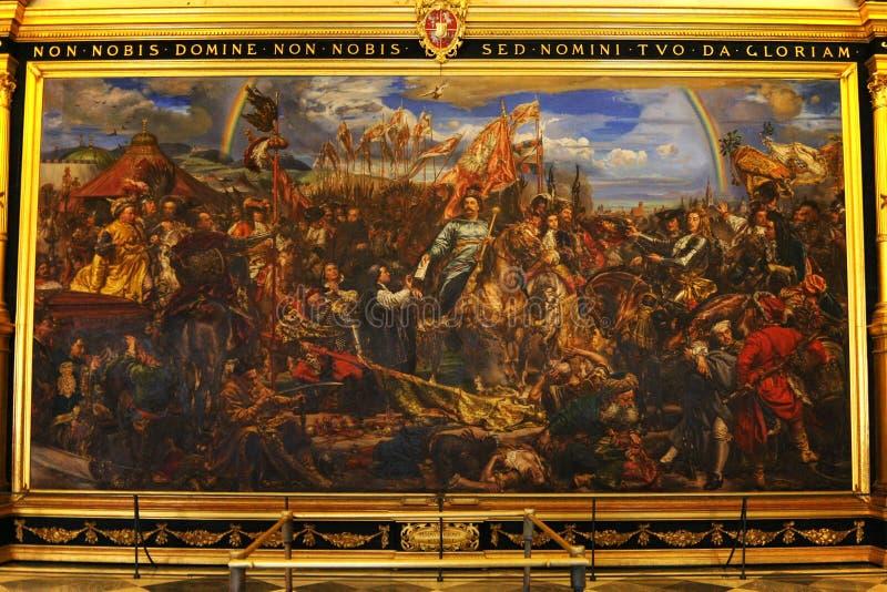 Vatican Museum. Painting of king Jan Sobieski in Vienna during war with Turks. Painting by Jan Matejko. stock image
