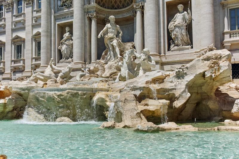 ROME, ITALY - JUNE 23, 2017: View of Trevi Fountain Fontana di Trevi in city of Rome. Italy stock images