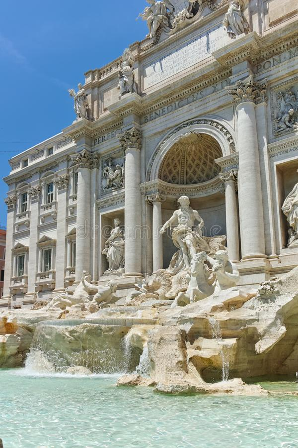 ROME, ITALY - JUNE 23, 2017: View of Trevi Fountain Fontana di Trevi in city of Rome. Italy royalty free stock photography