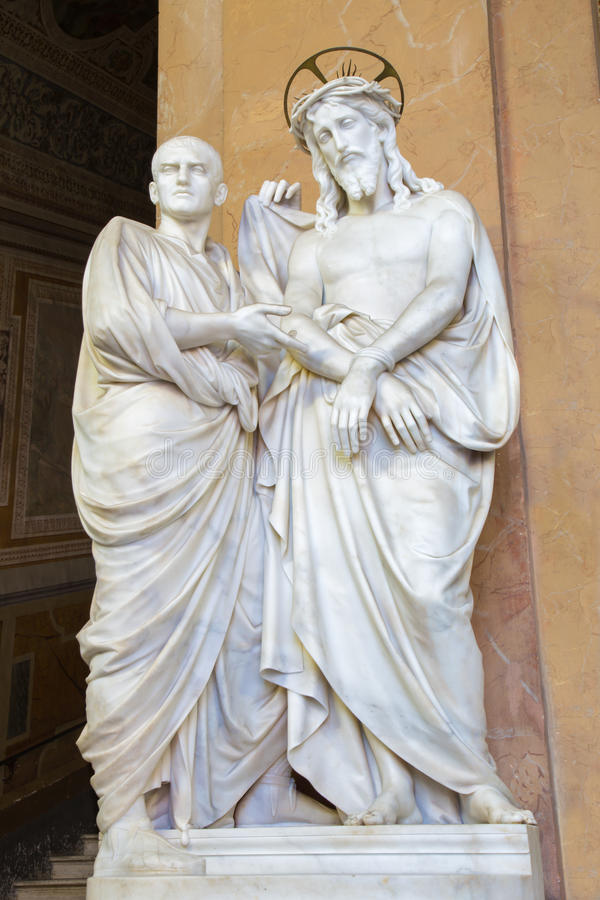 Free ROME, ITALY: Marble Sculpture Ecce (Christ And Pilate). The Vestibule Of Church Chiesa Di San Lorenzo Stock Images - 68753974