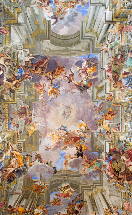 Free ROME, ITALY - MARCH 10, 2016: The Central Part Of Vault Baroque Fresco The Apotheosis Of St Ignatius By Jesuit Frater Andrea Stock Image - 77016171