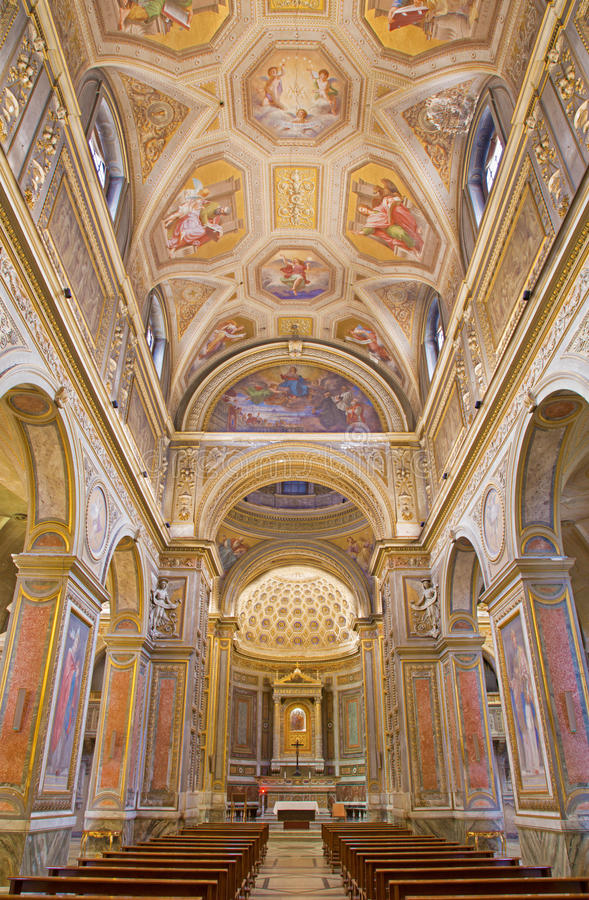 ROME, ITALY - MARCH 9, 2016: Church Chiesa di Santa Maria in Aquiro with the ceiling frescoes by Cesare Mariani from 1826 - 1. ROME, ITALY - MARCH 9, 2016: The royalty free stock images