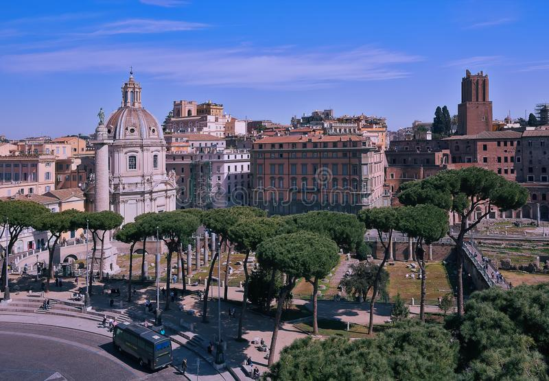 Rome, Italy - march 22, 2019: Church of the Most Holy Name of Mary at the Trajan Forum and the Trajan`s Column in Rome, Italy stock photo
