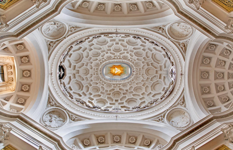 ROME, ITALY - MARCH 10, 2016: The cupola of church Chiesa di San Carlo alle Quattro Fontane by architect Francesco Borromini stock images