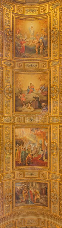 ROME, ITALY - MARCH 27, 2015: Detail of Fresco on the vault of Basilica di Sant Andrea della Valle by Salvatore Nobili royalty free stock photo