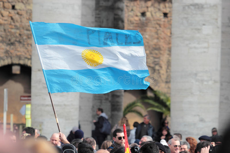 Flag of Argentina in St. Peter Square. ROME, ITALY - March 17: A flag of Argentina in St. Peter Square before the first Angelus prayer of Pope Francis I on March stock photo