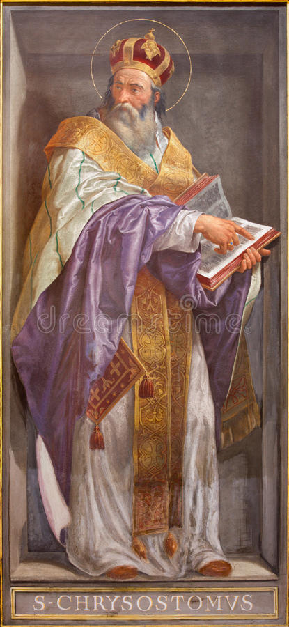 ROME, ITALY - MARCH 9, 2016: The fresco of the Doctor of the Church St. John Chrysostom in church Chiesa di Santa Maria in Aquiro royalty free stock photography