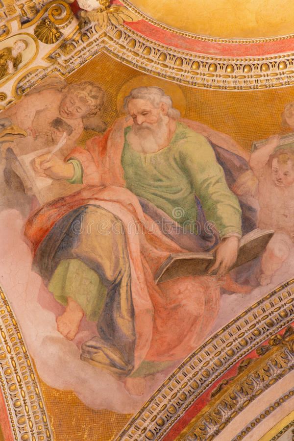 ROME, ITALY - MARCH 9, 2016: The fresco of St. Matthew the Evangelist. From ceiling of side chapel of church Basilica di Santa Maria del Popolo by unknown stock images