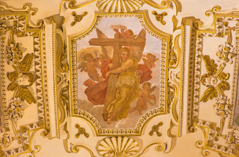 ROME, ITALY - MARCH 9, 2016: The fresco of symbolic angels with the cross in church Chiesa di Santa Maria in Aquiro. By Cesare Mariani from (1826 - 1901 in neo stock photography