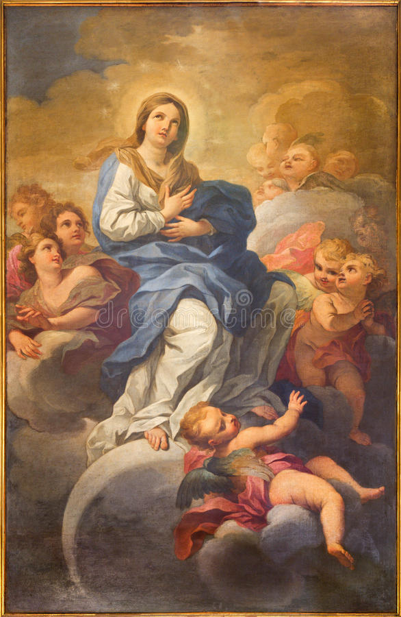 ROME, ITALY - MARCH 9, 2016: The Immaculate Conception painting in church Chiesa di San Silvestro in Capite by Lucovico Gimignani stock photo