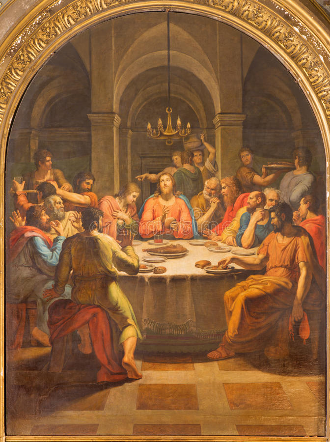 ROME, ITALY - MARCH 12, 2016: The Last supper paint in church Basilica di San Lorenzo in Damaso by Vincenzo Berrettini. (1818 royalty free stock photography