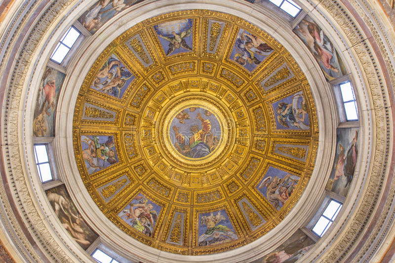 ROME, ITALY - MARCH 9, 2016: The mosaic of God the Father in the top of cupola in Chigi chapel by Luigi de Pace (1516) royalty free stock images