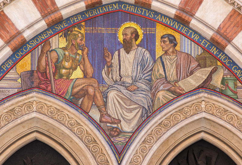 ROME, ITALY - MARCH 24, 2015: The mosaic Teaching of St. Paul in carcer by George Breck (1909) stock photo