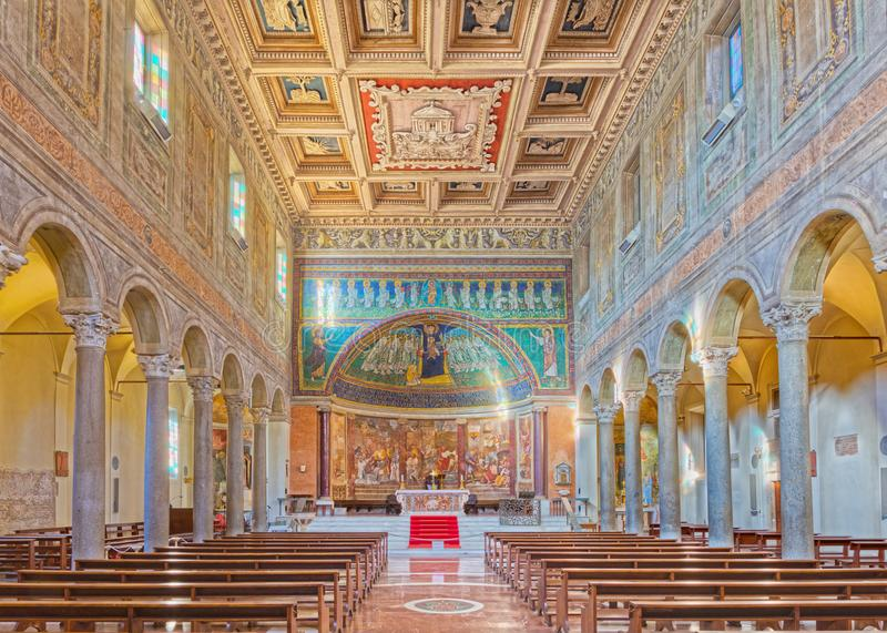 ROME, ITALY - MARCH 10, 2016: The nave of church Basilica di Santa Maria in Dominica with the mosaic of Madonna among the angels. In byzantine style in main royalty free stock photo