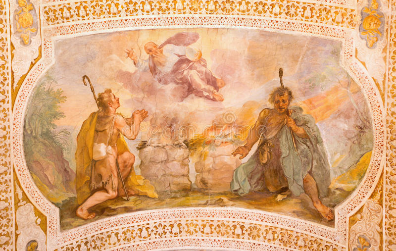 ROME, ITALY - MARCH 11, 2016: Sacrifices of Cain and Abel by V. Salimbeni in church Chiesa di San Lorenzo in Palatio ad Sancta San. ROME, ITALY - MARCH 11, 2016 stock image