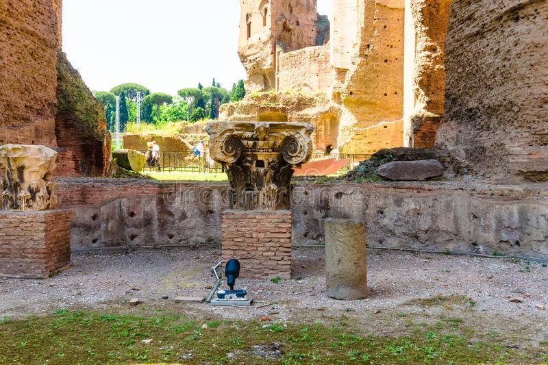 Rome, Italy - 26 May 2018: baths of Caracalla. The Baths of Caracalla Italian: Terme di Caracalla in Rome, Italy, were the city`s second largest Roman public royalty free stock photography