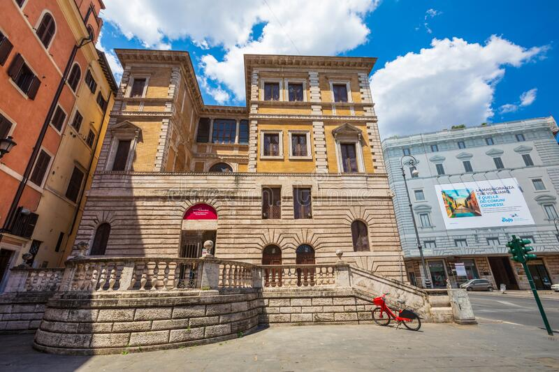 Exhibition museum inside a historic building in the city center of Rome in Italy. External facade with royalty free stock images