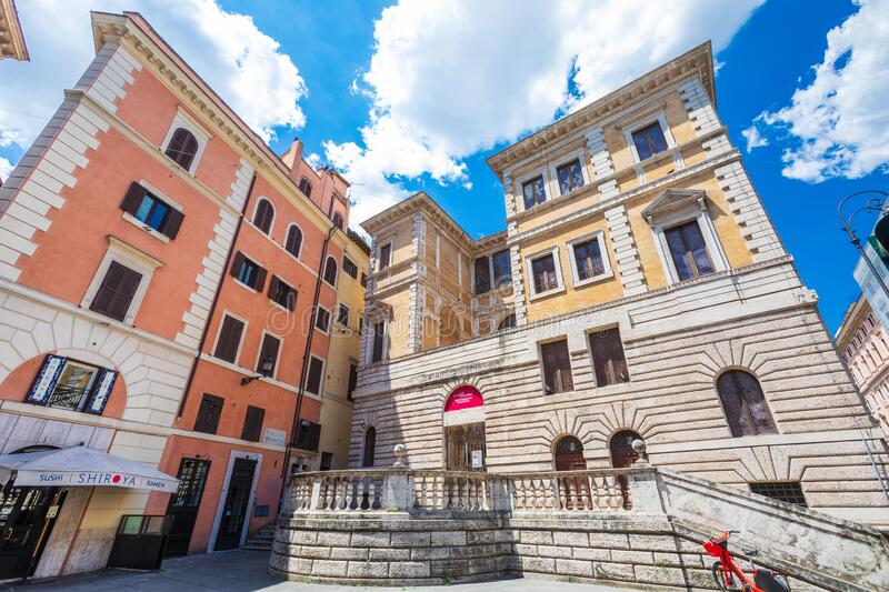 Exhibition museum inside a historic building in the city center of Rome in Italy. External facade with royalty free stock image