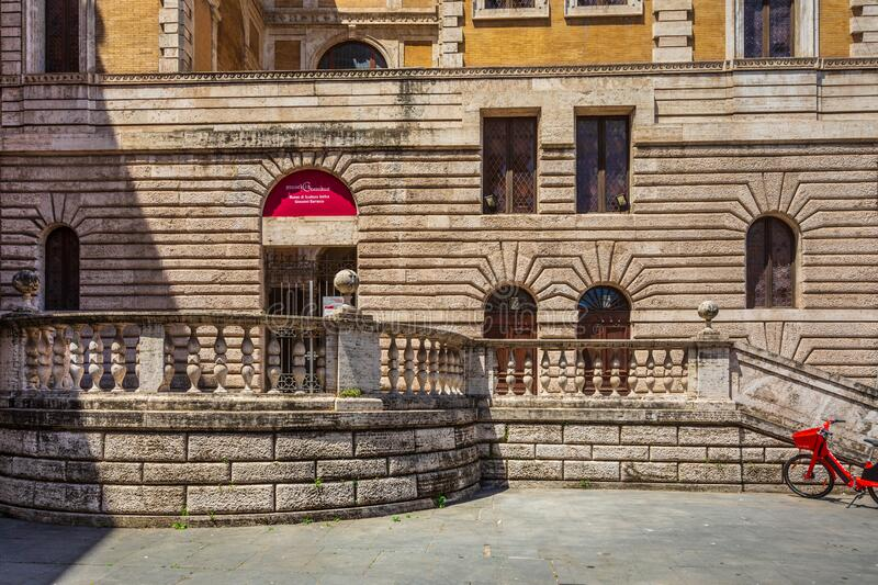 Exhibition museum inside a historic building in the city center of Rome in Italy. External facade with stock photo