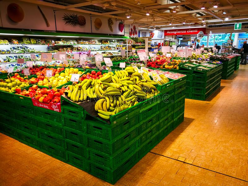 Fruit and vegetables department royalty free stock photos