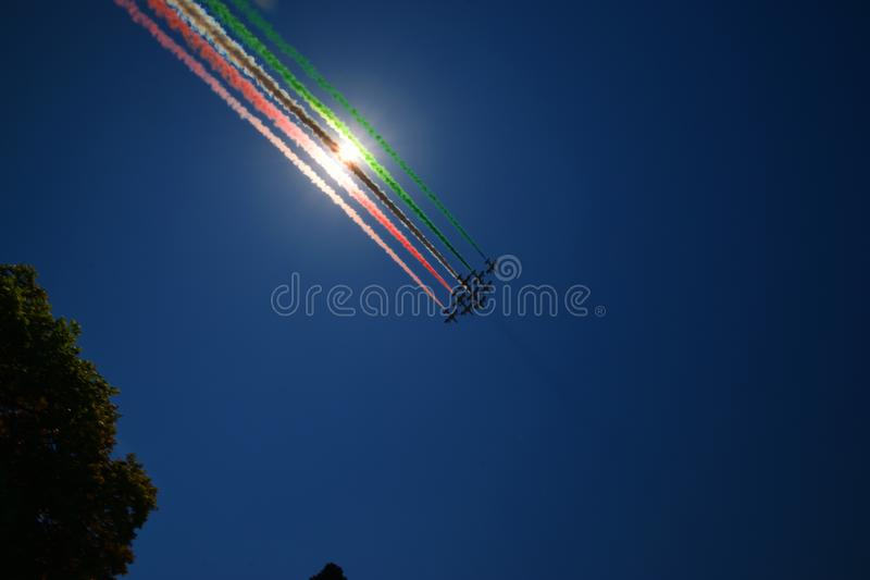 Frecce Tricolori Italian Flag Tail stock photos