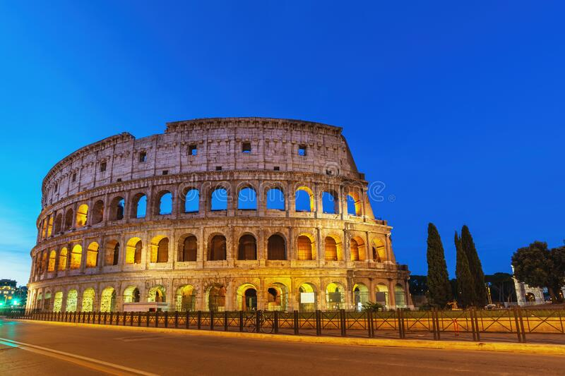 Rome Italy night city skyline at Colosseum royalty free stock images