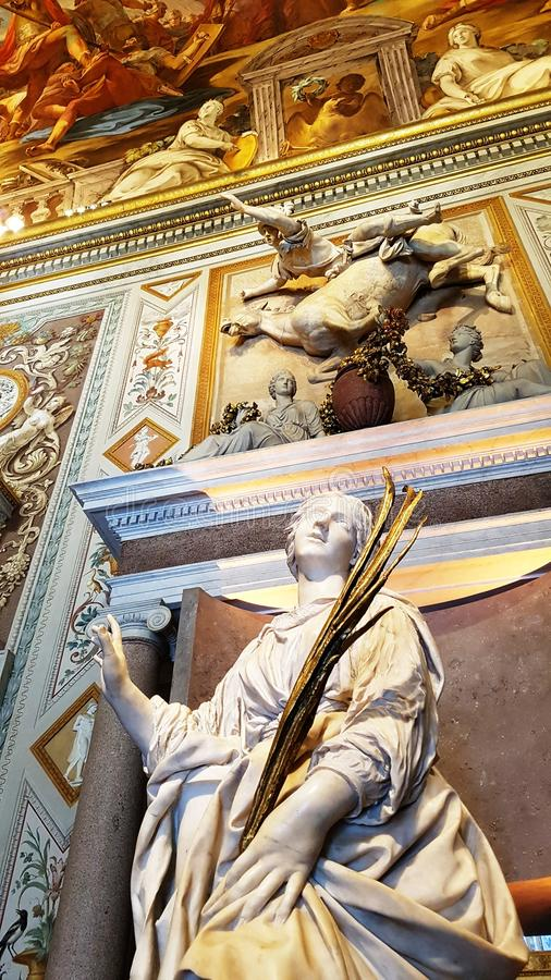 Sculpture, paintings, murals and antiquities in Borghese Gallery royalty free stock image