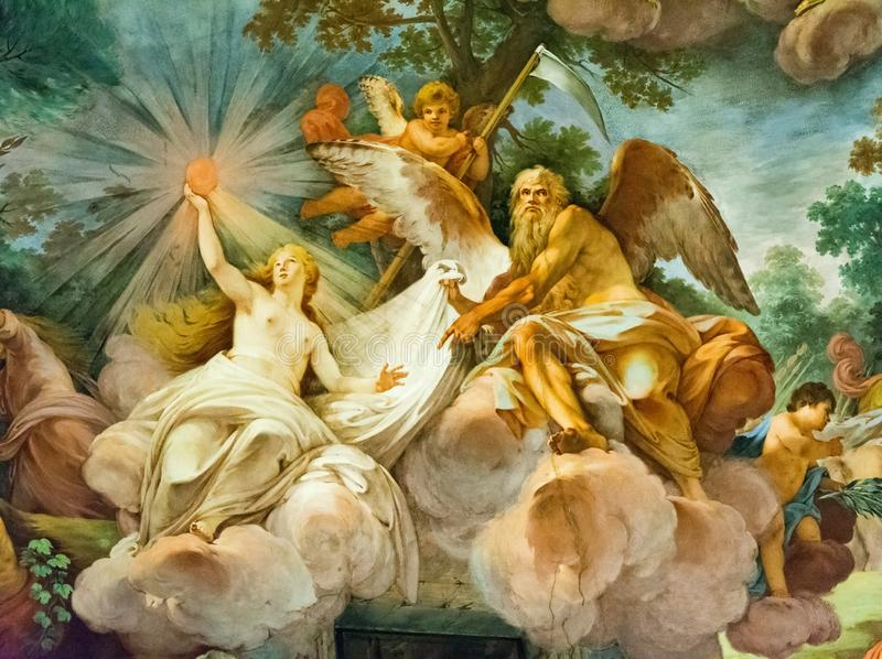 Painting on the ceiling of the Borghese Gallery, Rome stock photos